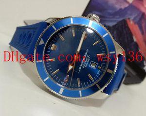 En Kaliteli SüperOcean Miras Mavi mavi kauçuk üzerinde Dial 46 MM A17320 Erkek Otomatik Mekanik İzle Moda Wathces