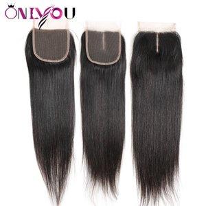 Cheveux Vierges Brésiliens Droite Dentelle Fermeture 4x4 Partie Milieu Libre Cru Indien Extensions de Cheveux Humains Top Fermeture Soyeux Droite Tisser Bundles