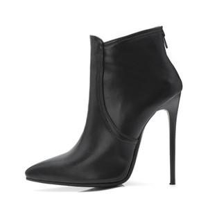 Favofans الساخن بيع إمرأة أشار أصابع أحذية السيدات الاصطناعية الجلود البريدي الكاحل أحذية FF-B954 أسود رمادي كاكي لنا المملكة المتحدة الأحذية حجم
