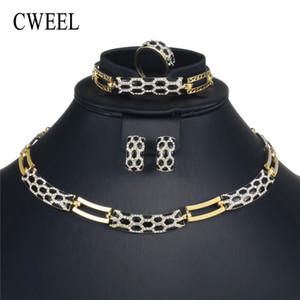 CWEEL Schmuck Sets Fashion Women Dubai Hochzeit Schmuck Sets Brautgeschenk Nigerian Afrikanische Perlen Big Nigerian Jewelry Set