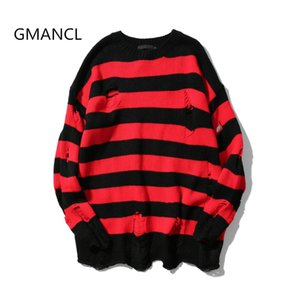 GMANCL Two colors Mens Ripped Holes Sweater autumn new Vintage oversized high quality Loose Cotton Casual men Pullovers sweater Y1892109