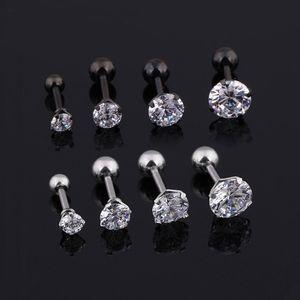 Brincos Mens Medical brincos de titânio tamanho 3/4/5/6 milímetros Estrela de Cristal Cartilagem Brinco piercing Top Body Jewelry Men Brinco