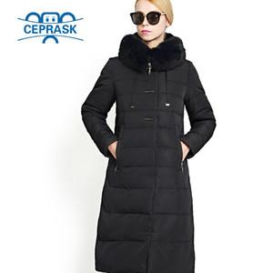 En gros-2017 Femmes Manteau D'hiver Vraiment Fourrure Plus La Taille À Long À Capuche Chaud Femmes Veste D'hiver Biological-Down Femelle Parkas 6XL CEPRASK