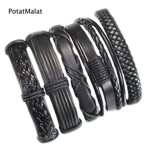 FL46-free shipping (5pcs lot) new fashion handmade ethnic braid bracelets wristband genuine leather bracelet for party