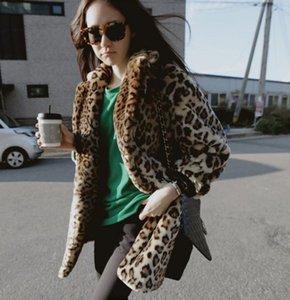 2018 New Rex Rabbit Fur Coat imitazione coreano donne elegante Street Wear Leopard Fur Coat Inverno caldo Outwear Sexy soprabito