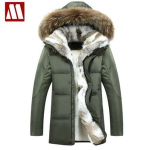 MYDBSH 두꺼운 따뜻한 겨울 재킷 파카 남성 캐주얼 모피 칼라 후드 군사용 코트 Windproof White Duck Down Coat Plue 크기 5XL