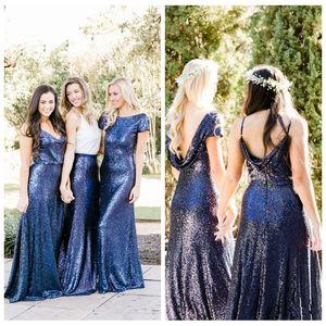 2018 Custom Formal Long Slim Beautiful Country Style Lentejuelas Vestidos de dama de honor Azul real Dos piezas Mezcla y combina Honor de Maid