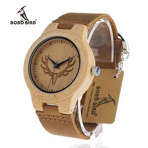 BOBO BIRD Deer Head Reloj de madera antiguo cuero de vaca genuino Amantes de la banda Relojes de lujo Reloj de pulsera de cuarzo de madera de bambú