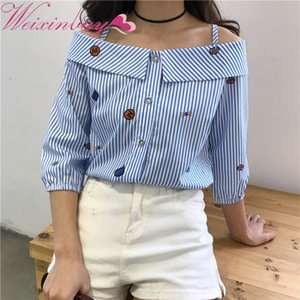 Sweet Slash Neck Tops Stripe Sexy Shirts Ladies Clothing long-sleeved shirt striped print embroidered shoulder slash neck blouse