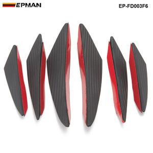 6pcs EPMAN / lot fibra de carbono carro pára-choques dianteiro Splitter Fins Spoiler corpo Canards Valance Chin EP-FD003F6