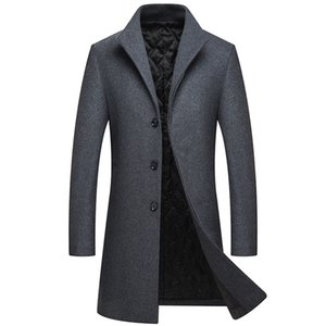 2018 Winter Men Single Breasted Long Wool Overcoat Mens Slim Thick Warm Business Casual Jackets Trench Coat men's coat M-XXXL