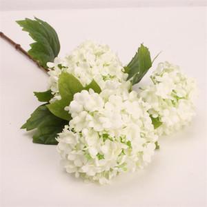 Fake Long Stem Snowflake Hydrangea (3 heads piece) Simulation Hydrangeas for Wedding Home Showcase Decorative Artificial Flowers