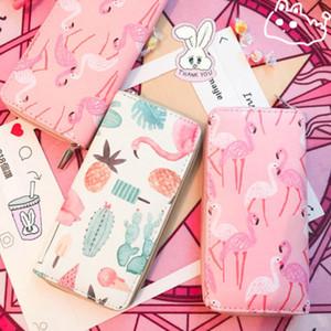 Girls Women cute wallet Lady PU Leather Clutch Wallet fruit flamingo strawberry pattern Long Card Holder Purse Box Handbag Bag