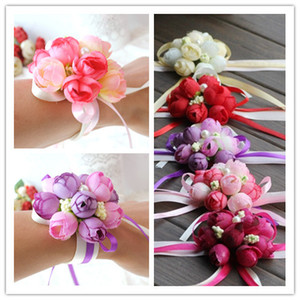 DHL kargo Wholsesle Bilek Korsaj Nedime Kız El Çiçekleri Yapay Ipek Dantel Gelin Çiçekleri Düğün Dekorasyon Için Gelin