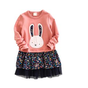 Artishare Kız Elbise için 2017 Bahar Prenses Elbise Uzun Kollu Tavşan Nakış Tasarım Çocuklar Elbise Çocuk Giysileri