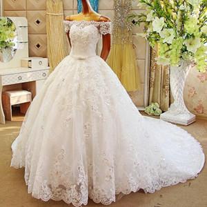 Luxuriöse Designer-Ballkleid 2017 Brautkleider Glitz SpitzeAppliques Prinzessin Wedding Dress weg von der Schulter Modest Brautkleider