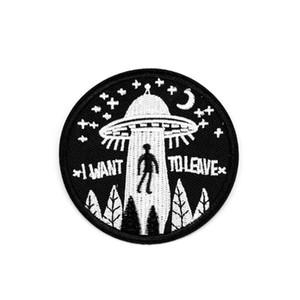 Eu quero sair UFO Alien Badges patch bordado Applique costura etiqueta roupas adesivos vestuário ornamento