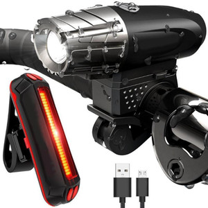 Manubrio anteriore MTB Bike anteriore + Luci posteriori posteriori Lampada USB Ricarica luce bicicletta 4 modalità faro Set luci ciclismo Y1892709