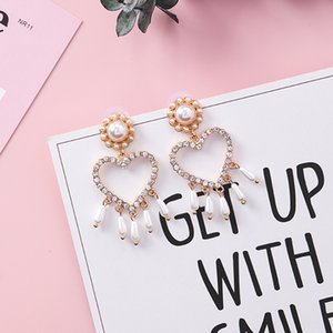 New Rhinestone Cute Circle Round Heart Earings Fashion Jewelry For Women Drop Earing Brincos Gift Party
