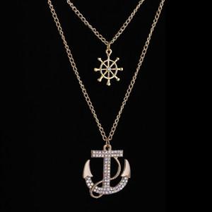 2pcs set New Fashion Hot Crystal Anchor Collana pendente stile Navy Ancoraggio Timone personalità collana lunga gioielli per wom