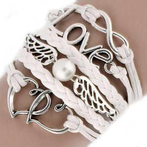 Bracciale a forma di multistrato con cinturino a forma di cuore e bracciale a forma di cuore