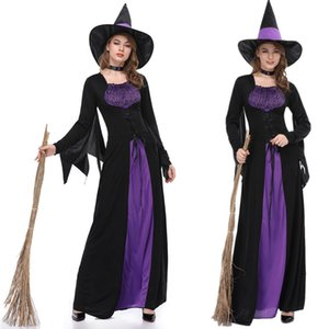 Witch Costume Halloween Party Cosplay Costume Medieval Renaissance Adult Witch Gothic Queen Vampire Fancy Dress+Hat + Neck Ring sexy