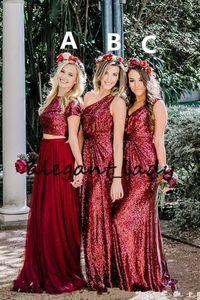 2018 Vermelho Escuro Bridesmaids Vestidos Borgonha Lantejoulas Até O Chão Longo Convidado Do Casamento Prom Evening Partido Vestidos Personalizados Barato Mais tamanho