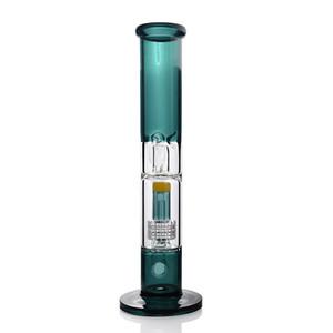 geri dönüşüm yağ bong Mavi düz boru kalın cam 18mm stereo matris süzücü cam dab kulesi bonglar su borusu pipo kuleleri