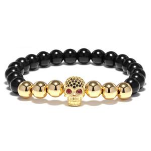 Schwarz Naturstein 4 farben Metall Perlen Armband Herren Cool Biker Armband Für Männer Hand Luxus Schädel Kopf Schmuck Aaccessories Großhandel
