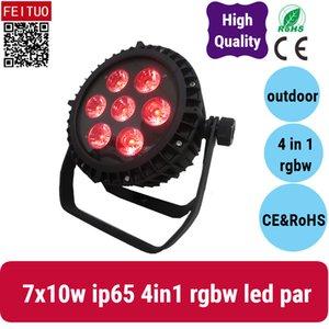 6xlot 4in1 실외 led 파 7 * 10w rgbw 램프 dj dmx 512 WASH PAR