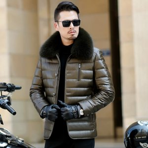 최신 디자인 90 % 거위 고체 폭스 칼라 가죽 경량 오리 다운 재킷 아우터 추운 겨울에 대 한