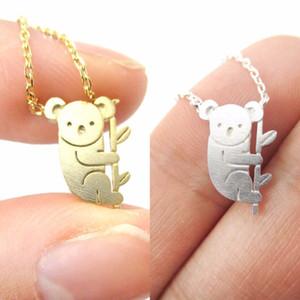 Küçük Koala Bear ve Şube Altın El Hayvan Takı Collares Minimalist şık kolye Hayvan Charm kolye kolye Şeklinde