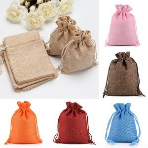 Sackleinen Jute Geschenke Taschen für Weihnachten Plain Vintage Hochzeit Xmas Party Favor Candy Geschenkverpackung Packung Taschen 9 Designs WX9-748
