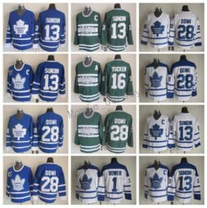 Maillots de hockey des Maple Leafs de Toronto 13 Mats Sundin 28 Cravates Domi 1 Johnny Bower 16 Darcy Tucker Vintage Classic Bleu Blanc