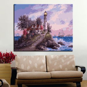 Seaside Lighthouse DIY Painting By Numbers Kits Modern Home Wall Art Picture Acrylic Coloring By Numbers Artwork
