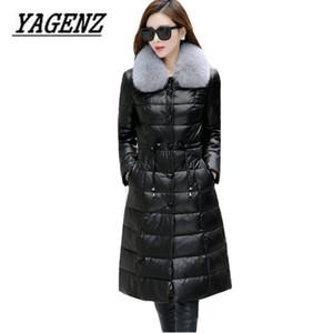 2017 Winter New  fur collar Down Jacket Coats High-end Slim Black Medium long Leather Jacket Warm Overcoat Large size M-5XL