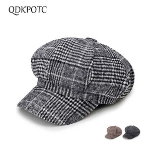 QDKPOTC 2018 New Fashion Retro Wool Blend Newsboy Cap di alta qualità Beret Plaid cappello ottagonale per uomo donna Cap