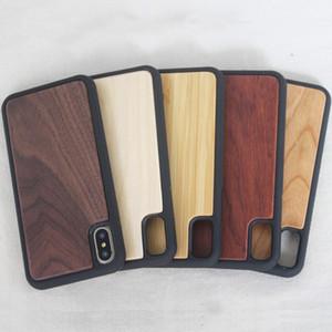 للحصول على اي فون X Natural Bamboo Wood + TPU حماية ضد الصدمات القضية لآيفون 6 7 لسامسونج غالاكسي S8 S9 زائد مع DHL