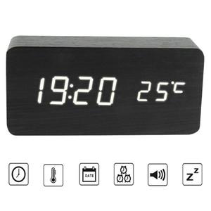 Ahşap Dijital Çalar Saat Ses Kontrolü LED Elektronik Akıllı Çalar Saat Despertador Ev Ofis için Zaman Sıcaklık Ile