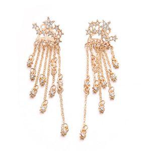 Sparkle Stars Pendientes largos de borla Oro Plata Color Cristal Pendientes colgantes aerodinámicos para mujeres Lady Girls Regalo de Navidad al por mayor