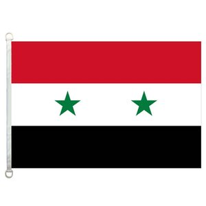 Bandiera della Siria Banner 3X5FT-90x150cm 100% poliestere, bandiera esterna in tessuto lavorato a maglia con trama da 110 gsm