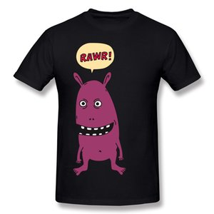 New Coming Homme Cotton Rawr! Monster! Tee Shirts Homme Crewneck Orange Short Sleeve Shirts Plus Size Casual Tee Shirts