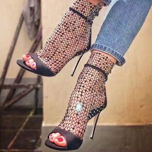 Izgara Tasarım Kristal Stueed Bling Parti Yaz Boots Patchwork Toka Kayış Sandalet Yüksek Topuklar Bayan Elbise Ayakkabıları Sandalet Patik