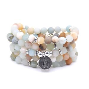 NOUVEAU Mode femmes bracelet Matte Givré Amazonite perles avec Lotus OM Bouddha Charme Yoga Bracelet 108 collier mala dropshipping