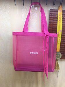 NOUVEAU! Classique blanc logo shopping mesh sac avec ruban modèle classique sac de voyage plage femmes sac de lavage maquillage cosmétique maille cas