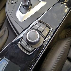 Pulsanti di stile fibra di carbonio Multimedia Knob copertura decorativo Trim per BMW 1 2 3 4 Serie 3GT F20 F30 ABS Accessori auto Interni