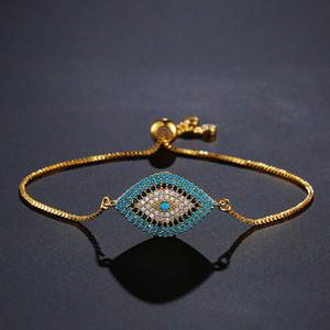 NEWBUY 2018 Trendy Türkische Gold Evil Eye Armband Pflastern CZ Blue Eye Gold Kette Armband Einstellbare Weibliche Partei Schmuck