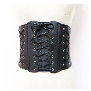 Sexy Retro Lace Up Corset Belt For Women Pu Leather Ealstic Belt Ladies Waist Trainer Ceinture Body-Shaped Woman