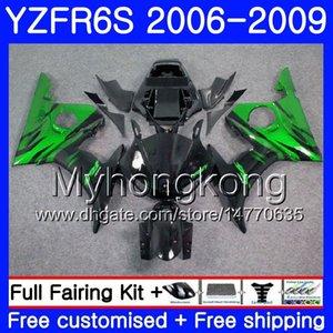 Cuerpo para YAMAHA YZF R6 S R 6S YZF600 YZFR6S 06 07 08 09 231HM.0 YZF-600 YZF R6S YZF-R6S 2006 2007 2008 2009 Fairings Kit Green flames black