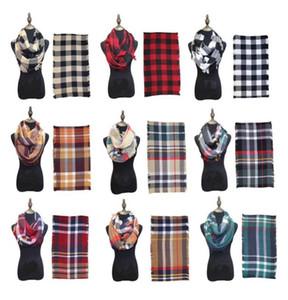 Moda Kareli Infinity Eşarplar Izgara Döngü Eşarp Kadınlar Kış Sıcak Battaniye Tartan Büyük Boy Şal Kafes sarar Kaşmir Pashmina Kontrol